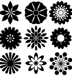Black floral templates vector image