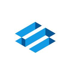 Blue 3d isometric letter s abstract letter s logo vector