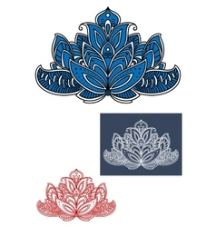 Blue indian paisley flower with curly elements vector image