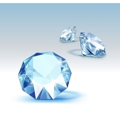 Blue Shiny Clear Diamonds Close up Isolated vector image