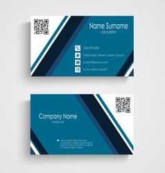 Business card with blue white stripes template vector