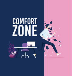 Businessman exit from comfort zone vector