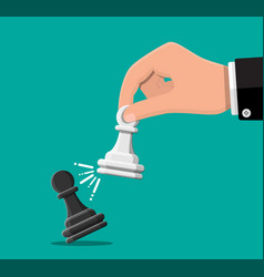 businessman holding in hand pwan chess figure vector image