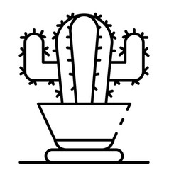 cactus pot icon outline style vector image