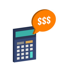 Calculator and dollar symbol flat isometric icon vector