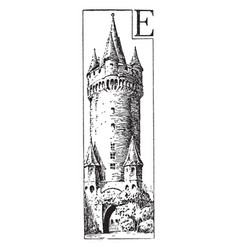 Castle distinct from a palace vintage engraving vector