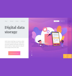 cloud storage landing page template vector image