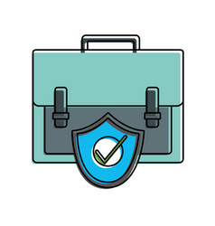 Color briefcase business object with security vector