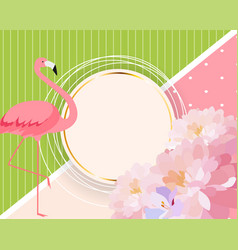 colorful card template with cartoon pink flamingo vector image