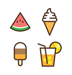Colorful icon ice cream watermelon slice vector