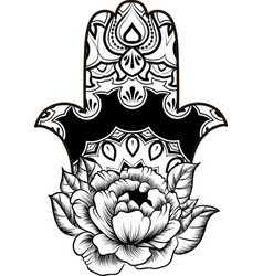coloring page with hamsa with round ethnic pattern vector image