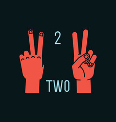 Count on fingers number two gesture stylized vector
