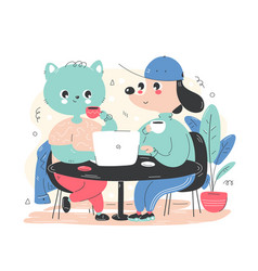 Cute happy dog and cat work and drink coffee vector