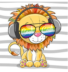 Cute lion with sun glasses vector