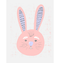 cute pink bunny in simple childish style vector image