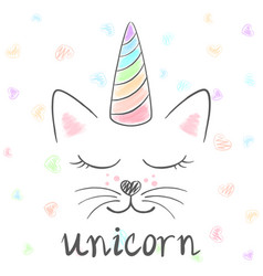 cute unicorn cat meow vector image