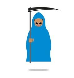 Death skull cat in blue cloak Grim Reaper pets vector