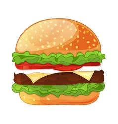 Delicious cheeseburger isolated icon vector