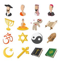 Different religions cartoon icons set vector image