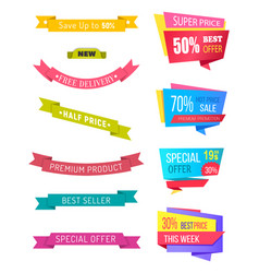 Discounts and coupons promo banners sale set vector