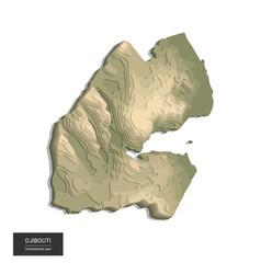 Djibouti map - 3d digital high-altitude vector