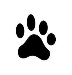 dog paw print pets footprint black silhouette vector image