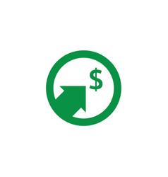 dollar increase icon money symbol with arrow vector image