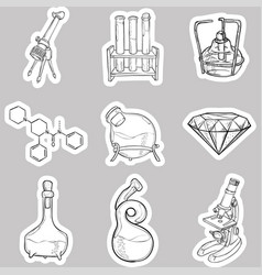 Doodle lab equipment stickers vector