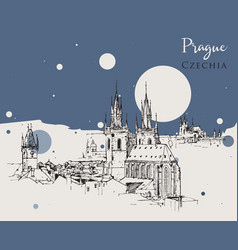 drawing sketch prague vector image