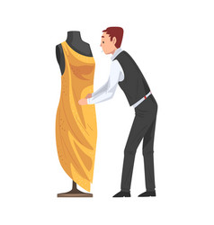 dressmaker creating dress male clothing designer vector image