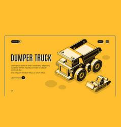 Dumper truck isometric web banner template vector