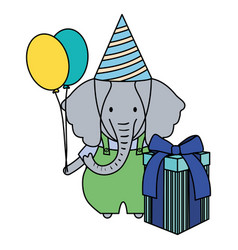 elephant with gift box and balloons helium in vector image
