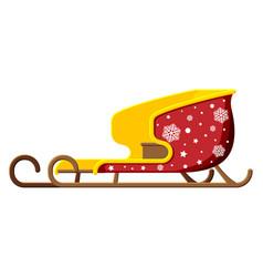 empty santa sleigh with snowflakes vector image