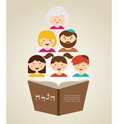 family reading hagada book at passover holiday vector image