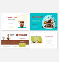 Flat coffee time websites set vector