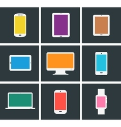 Flat modern colored electronic gadgets vector