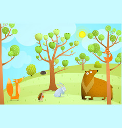Forest summer landscape with animals vector