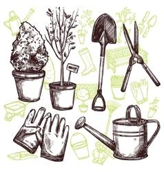 Garden tools sketch concept vector