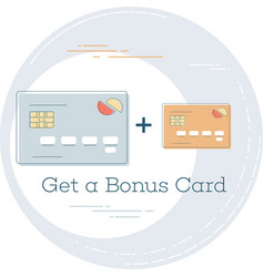 get a bonus card concept in line art style vector image