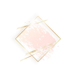 Gold rhombus frame with pastel nude pink texture vector