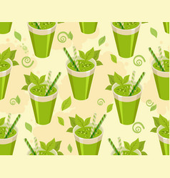 green cocktail seamless pattern vector image