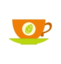 Green tea cup flat icon vector image