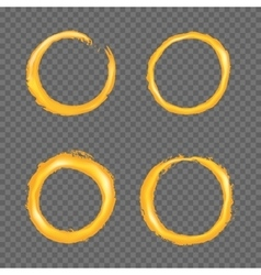 Grunge golden circle border set vector