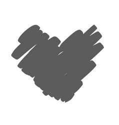 hand drawn heart with rough edge dry brush vector image