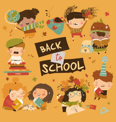 happy children with school equipment back to vector image