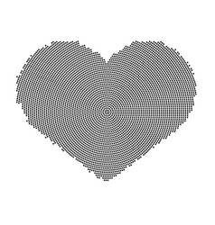 Heart symbol with a dot pattern icon vector