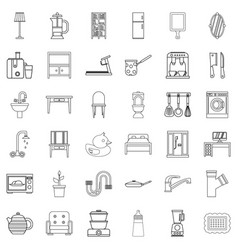 house interior icons set outline style vector image