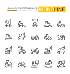 industrial vehicles icons vector image