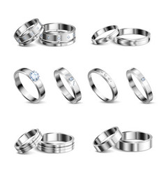 jewelry rings realistic set vector image