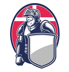 Knight mascot open the helmet vector